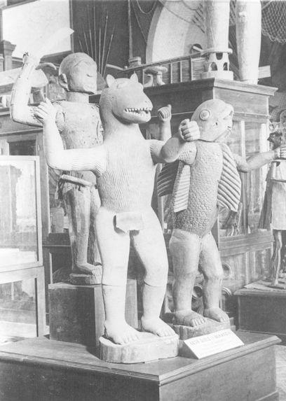 Dahomey, statues des rois Glélé et Béhanzin