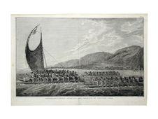 Tereoboo, roi d'Owyhée apportant des présents au capitaine Cook
