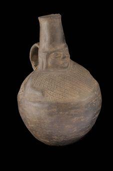 Vase monochrome à décor anthropomorphe