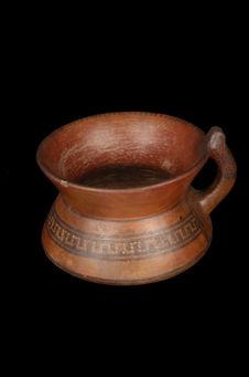 Vase à anse polychrome