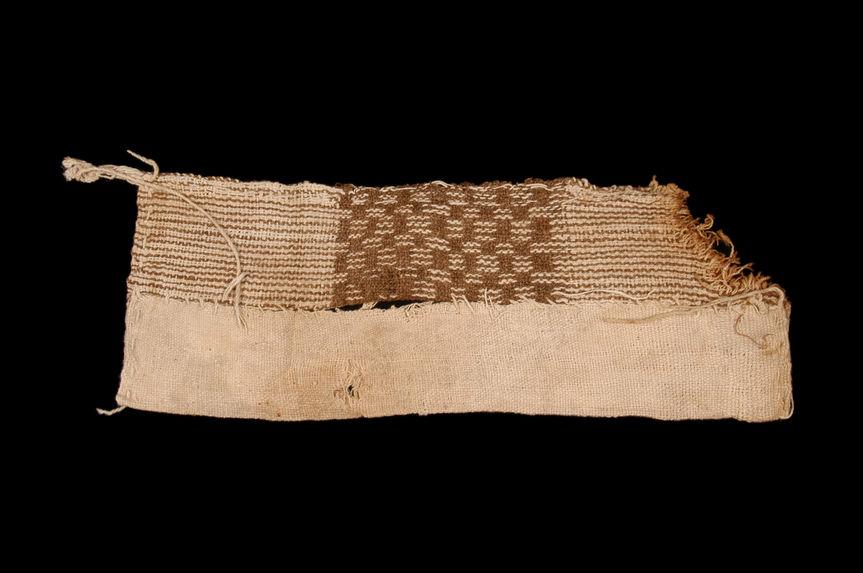 Fragment de tissu à damier blanc et brun