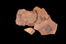 Fragments d'une calebasse décorée