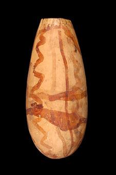 Vase en calebasse decorée
