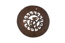 Plaque circulaire en métal, à décor zoomorphe