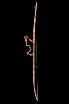 Arc en bois recouvert cuir. Corde cuir