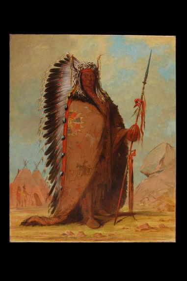 Portrait de Ee-ah-Sa-Pa (La Roche Noire), chef des Nee-Cow-e-je, bande de la tribu des Sioux