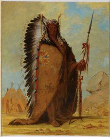 Portrait de Ee-ah-Sa-Pa (La Roche Noire), chef des Nee-Cow-e-je, bande de la...