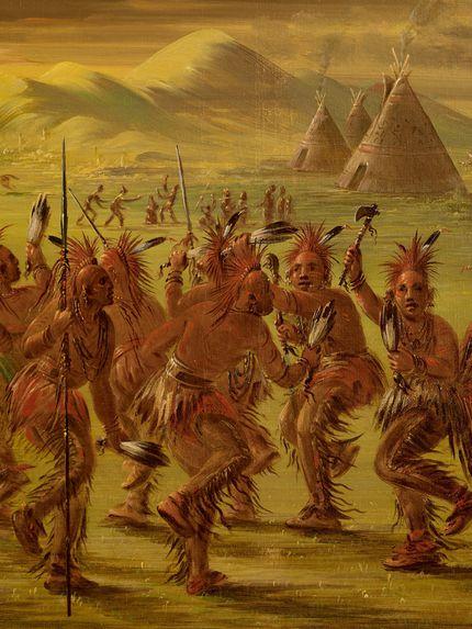Danse de l'aigle et vue du village Ioway dans le Haut Missouri