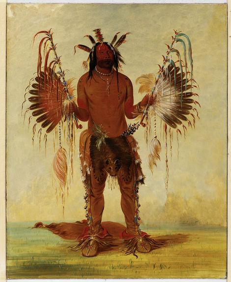 Portrait de Mah-te-he-ha (Vieil ours), homme-médecine de la tribu des Mandan
