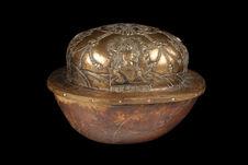 Coupe : calotte crânienne avec intérieur bronze