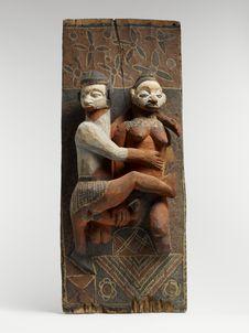 Panneau sculpté polychrome