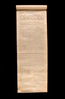 Relevé : décor de poteau funéraire