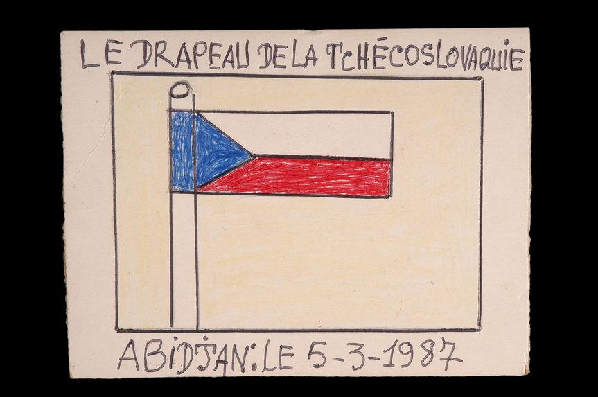 Dessin : Le drapeau de la Tchécoslovaquie
