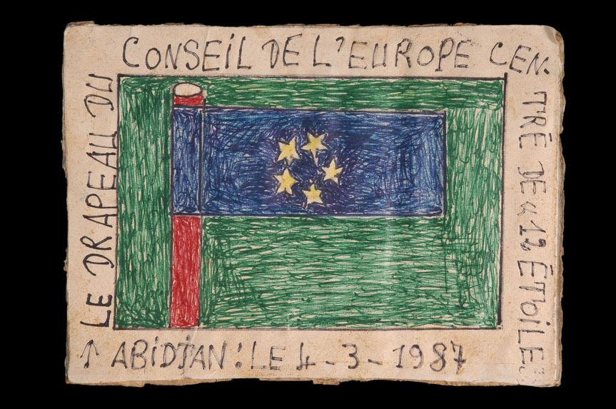 """Dessin : Le drapeau du Conseil de L'Europe centré de """"12 étoiles&quot"""