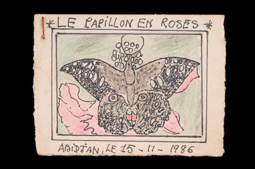 Dessin : Le papillon en roses