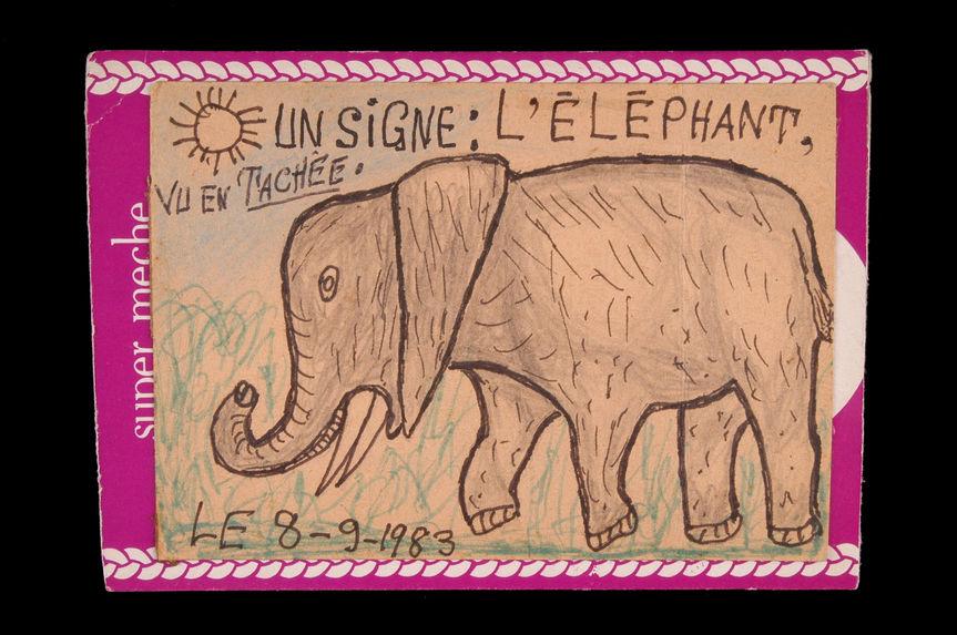 Dessin : Un signe : l'éléphant, vu en tachée