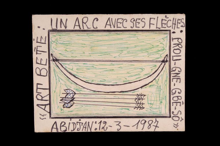 Dessin : Art Bété : un arc avec ses flèches : Prou-gne-gbé-sô