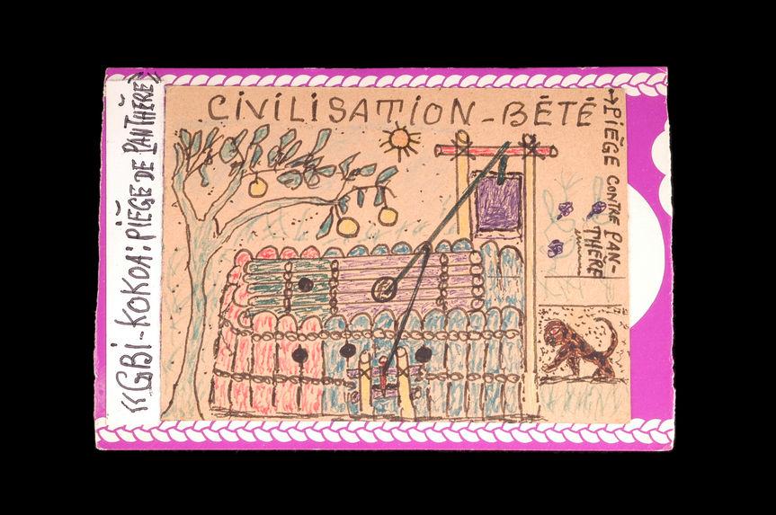 Dessin : Civilisation Bété / gbi-kokoa : piège de panthère / Piège contre panthère