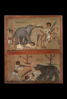 Peinture - Chasse à l'éléphant