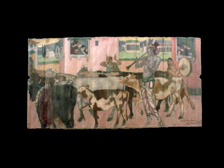 Krishna conduisant son troupeau