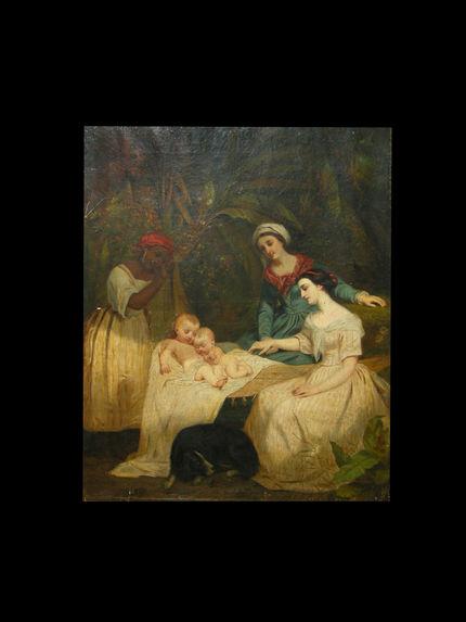 Les mères de Paul et Virginie devant le berceau.