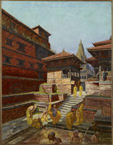 Prêtres boudhistes au bain
