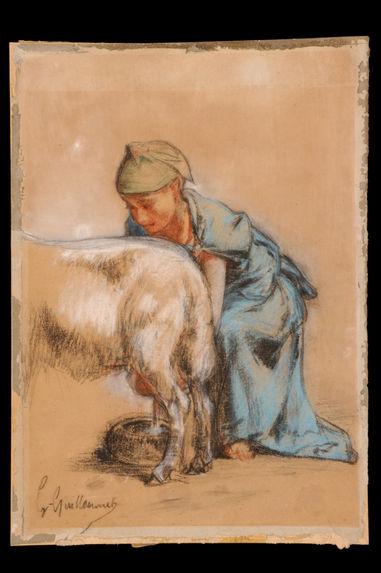 Femme [algérienne] trayant une chèvre