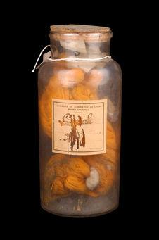 Echantillon de fil de coton teint en orange