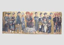 Cortège de quatorze personnages, cinq enfants et deux hommes indochinois