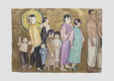 Cortège formé de douze personnages : Six enfants, quatre femmes et deux hommes