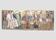 Sept personnages en costume traditionnel et un enfant monté sur un boeuf