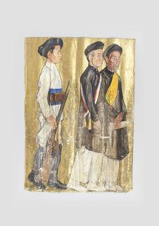 Deux notables indochinois et un soldat
