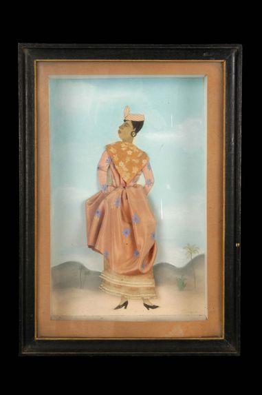 Diorama : Personnage féminin en costume