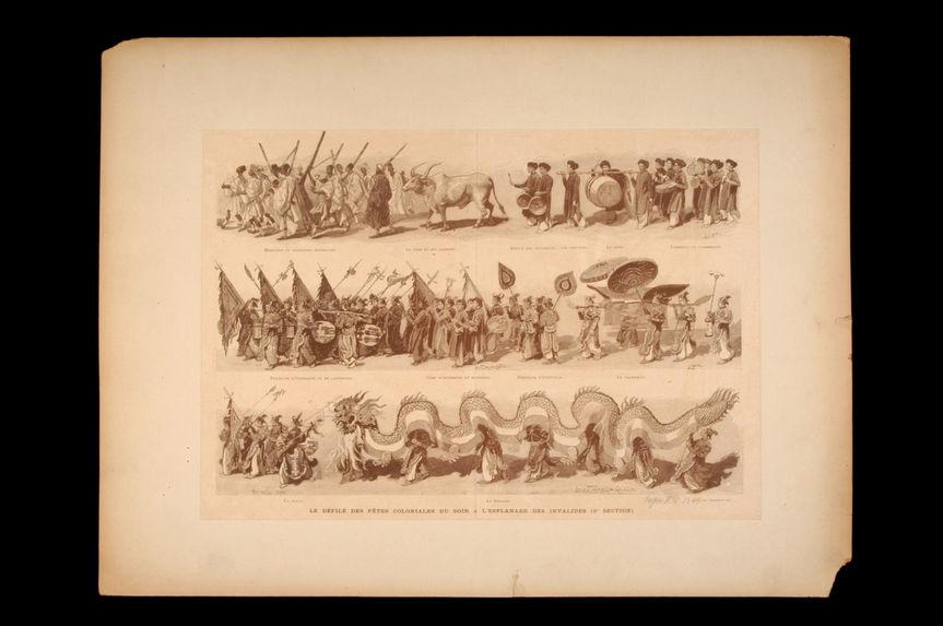 Le défilé des fêtes coloniales du soir à l'esplanade des invalides - Exposition Universelle 1889