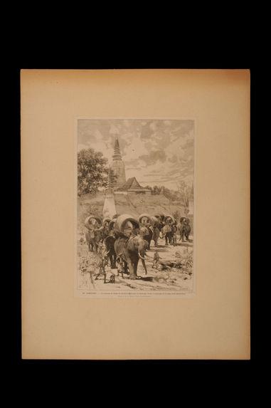 La caravane de chasse du protectorat français au Cambodge devant la montagne de la dame Penh (Pnom-Penh)