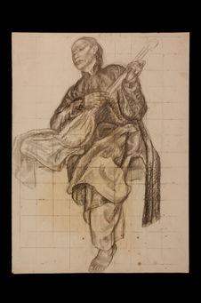 Sans titre [Musicien : étude préparatoire pour le Salon d'Asie du Palais des...
