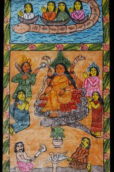 Peinture sur rouleau: la déesse Manasa
