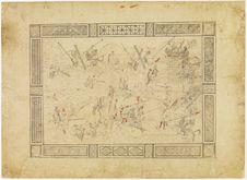Recto: scène de bataille -  verso: dessin avec motifs géométriques