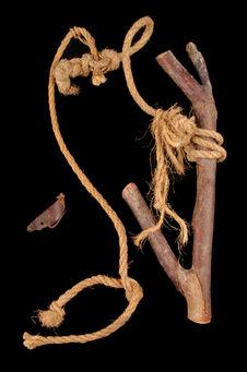 Fragment de branche servant de crochet