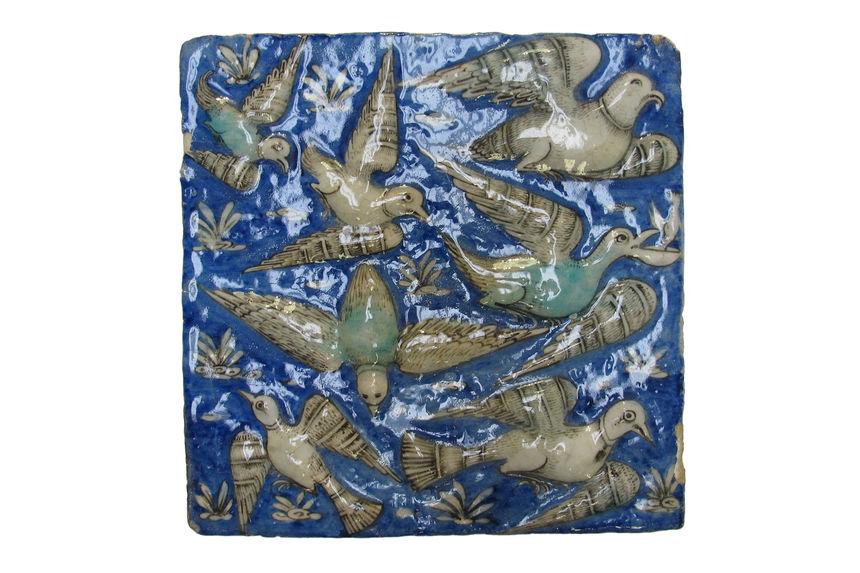 Carreau de revêtement illustrant le Livre des Merveilles de Qazwini : oiseaux