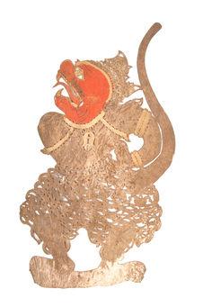 Figurine de théâtre d'ombres : singe (Sugriva?)