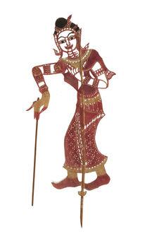 Figurine de théâtre d'ombres : suivante Nang Niman Loy