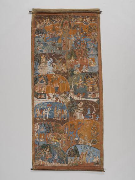 Peinture sur rouleau représentant les dix dernières vies antérieures du Bouddha