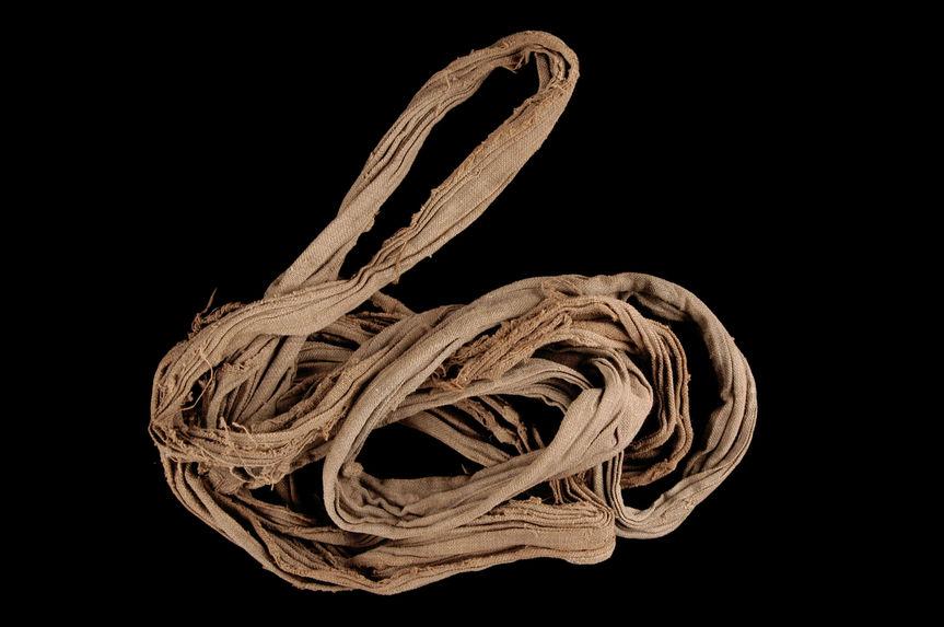 Matériel pour l'impression à la planche : Pièce de tissu servant de joint entre le chaudron et la cuve, hinsa