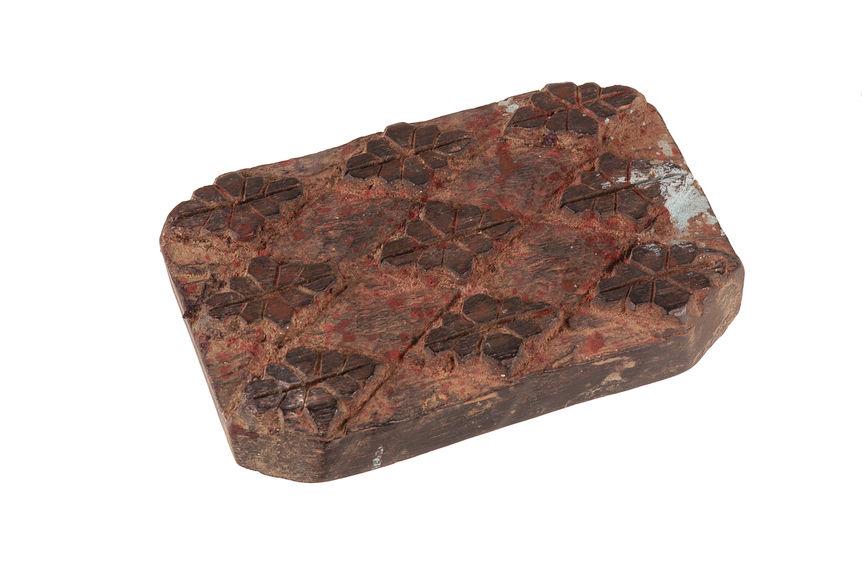 Matériel pour l'impression à la planche : Planche à imprimer en bois, pour dhaka, décor végétal stylisé