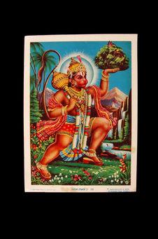 Image imprimée: Hanuman portant la montagne Dronagiri
