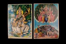 Images pieuses hindoues figurant Sarasvati et Kartikkeya