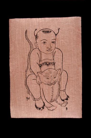Image populaire : jeune enfant chevauchant un chat