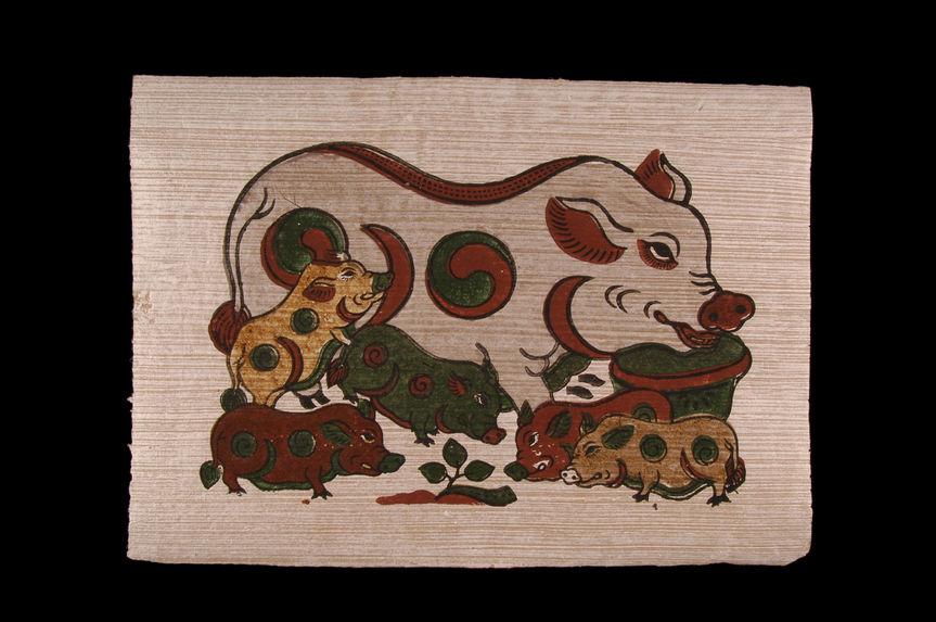 Image populaire : truie et cinq porcelets.