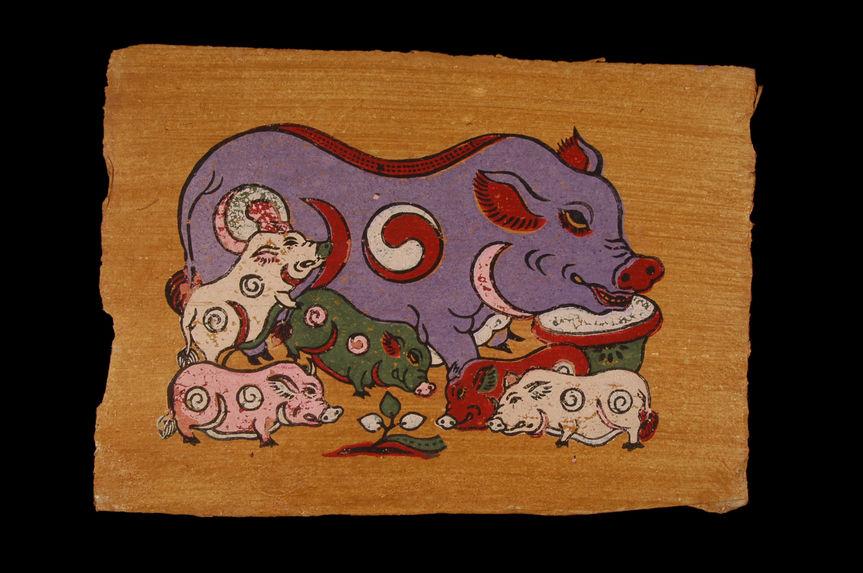 Image populaire : truie et cinq porcelets